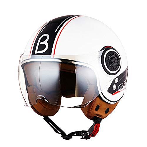 MYSdd 3/4-Motorradhelm, Jet Vintage Retro-Helm, Rollerhelm mit leicht versilberten Gläsern zum Schutz von Augen und Haut - 6 XL