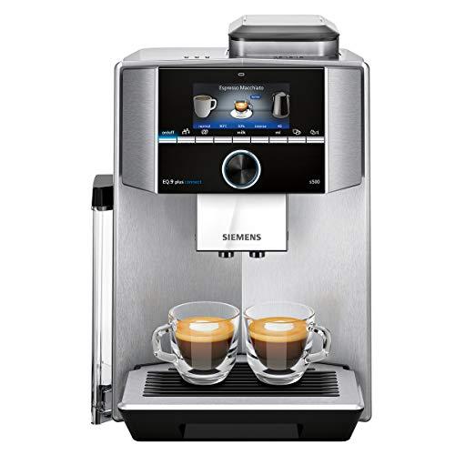 Siemens EQ.9 Plus Connect s500 TI9553X1RW Kaffeevollautomat mit Touchscreen - für zwei Tassen gleichzeitig - Barista-Modus - Farbe: Edelstahl (Displaysprache nicht auf Deutsch)