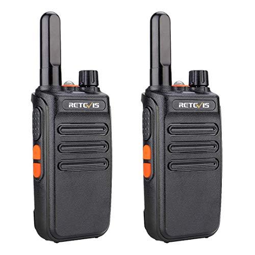 Retevis RB635 Walkie Talkies con Linterna, Radio Licencia Libre PMR446, Cable USB Largo Alcance Walkie-Talkies con VOX para Paseo Familiar, Camping(Negro, 2 Piezas)