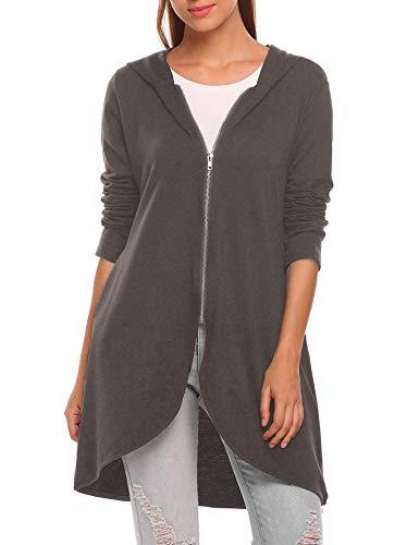 Zeagoo Women's Casual Light Oversized Zip Hoodie Sweatshirt Jacket, Dark Gray, X-Large