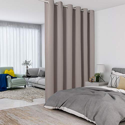 LORDTEX Khaki Room Divider Curtains - Total Privacy Wall Room Divider Screens Sound Proof Wide Blackout Curtain for Living Room Bedroom Patio Sliding Door, 1 Panel, 12.5ft Wide x 8ft Tall