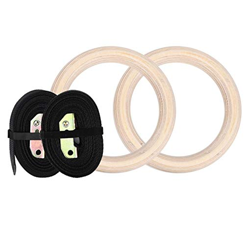Germerse Children Swing Rings, Wood Workout Equipment Durable Gymnastics Rings, Strength Training Equipment for Sport Strength Gym Strength Training