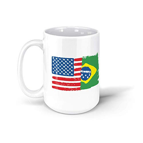 TALOGEM COFFEE MUG Brazil Usa Flag Brazilian American Gift Bandeira Do Brasil 15oz White Mug BFm