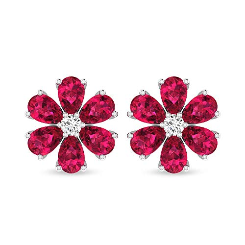 Ruby Lab Created 2.94 CT Pear Shaped Certified Diamond Flower Earring, Antique Red July Birthstone Cluster Studs, Unique Gold Screw Back Anniversary Earring Gifts,10K Rose Gold, Pair