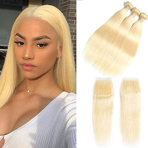 HCDIVA 613 Blonde Bundles With Closure 3 Bundles With Transparent Color Lace Closure 4x4 Brazlian Straight Remy Hair Extension Can Be Dyed (18 18 18+14inch, Bundles With Closure)