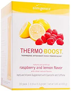 SlimGenics Thermo-Boost ® | Thermogenic Antioxidant Energy Boosting Powder Drink Mix - Anti-Aging Properties, Increases Metabolism & Weight Loss, Fights Fatigue - 30 ct (Raspberry Lemonade)