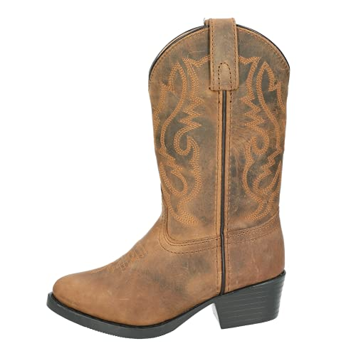 Smoky Mountain Youth Denver Distressed Brown Leather Cowboy Boots Black