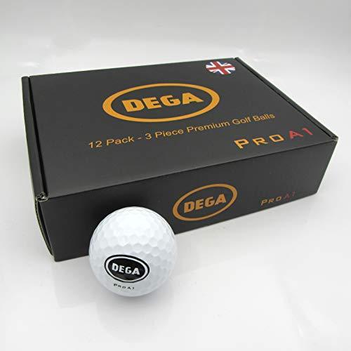DEGA Golf Balls Pro A1 Dozen 3 Piece Layers Maximum Distance Soft Feel Golf Ball High Short Game Spin 12 Pack Pro Golf Balls for Men Women