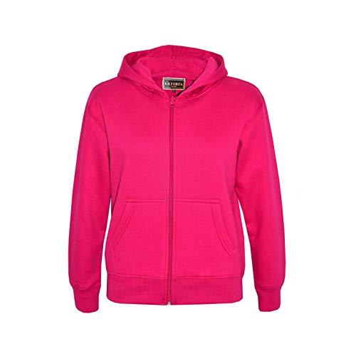 Kids Girls Boys Plain Tracksuit Hooded Hoodie Bottom Jog Suit Joggers New Age 7 8 9 10 11 12 13 Years (Fuchsia Pink, 7-8 Years)