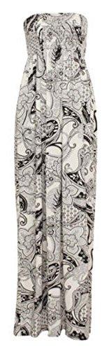 Fast Fashion Damen Maxi Kleid Azteken Tribal Tierleoparddruckscher Boobtube