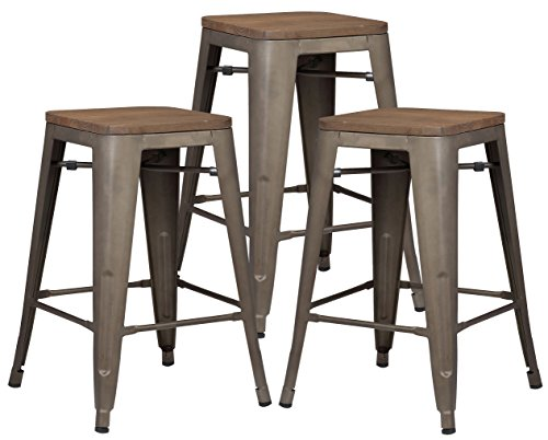 Poly and Bark Trattoria 24' Industrial Metal Counter Bar Stool with Elmwood Seat, Bronze (Set of 3)