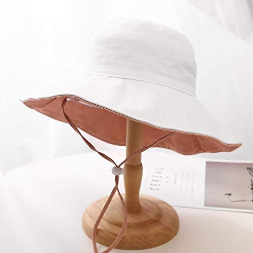 Boeizy Protection Solaire Double Face de la Femme pêcheur Hat Mode Tout Match extérieur à Larges Bords Coupe-Vent UV Sun Cap Femme élégante Bassin Cap Top Hat Casual Pliable à Plat (Color : Blanc)