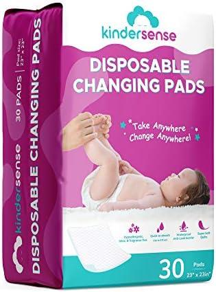 KinderSense Disposable Changing Pad for Baby Diaper 30 Pack Portable Pee Pad Waterproof Leak product image