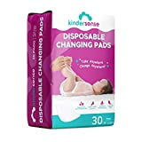 KinderSense - Disposable Changing Pad for Baby Diaper - 30 Pack - Portable Pee Pad Waterproof & Leak Proof Underpad Mat Incontinence Protection - Absorbent Hypoallergenic Bed Sheet Surface Protector