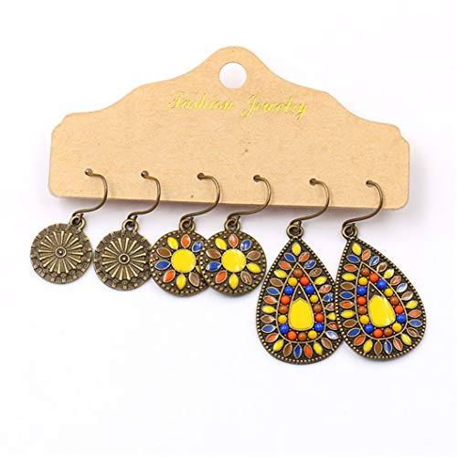 INSEET 3 Paar Tropfen Ohrringe Set Boho Vintage Ethnic Dangle Creolen Schmuck für Frauen, altes gelbes Pulver
