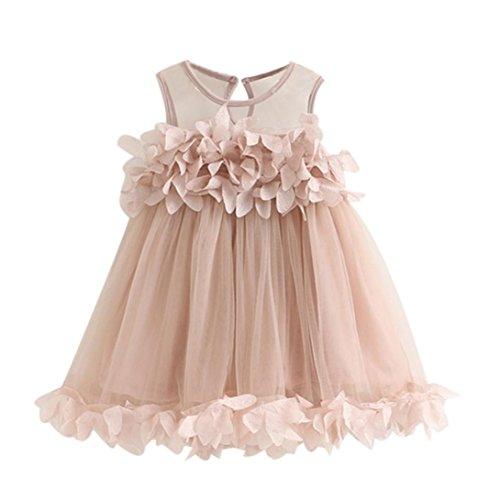 Kleider Mädchen, GJKK Süss Baby Mädchen Prinzessin Kleid Pageant Ärmellos Kleider Spitzenweste Blütenblatt Kleid Partyskleid Festlich Tüll Sommer Kleid Minikleid Abendkleid (Rosa, 90CM)