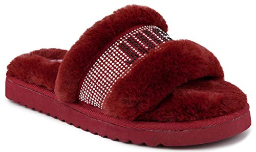 Juicy Couture Women's Slide Sandals with Faux Fur Slipper Sandals, Furry Slides, Womens Slip On Slippers-Halo-Burgundy-8