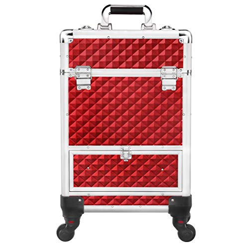 Yaheetech Makeup Trolley on Wheels/Cosmetic Case Organiser/Large Makeup Beauty Case/Lockable Nail Case Trolley with Drawer/Nail Technicians Makeup Artists/Red