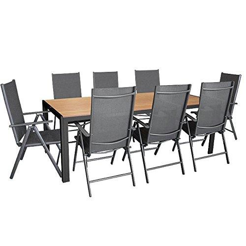 Mobiliario de jardín de 9 piezas, mesa de aluminio con tablero de madera sintética Polywood, 205x 90cm, 8sillas reclinables de aluminio con respaldo alto, revestimiento textil 2x 2, 7posiciones, antracita, para jardín y terraza