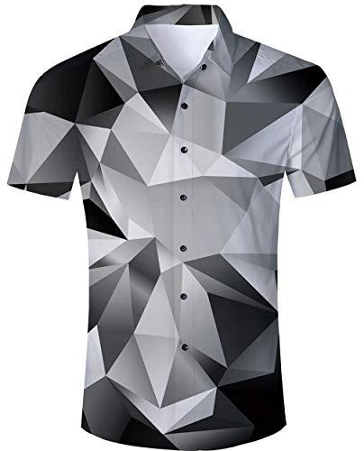 Pantalones Cortos para Hombre Gimnasio Verano 3D Geométrico Casual Camisas abotonadas Hawaii...