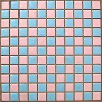 昔からのタイル 25mm角 ピンク色×水色 市松貼り【アウトレットタイル】