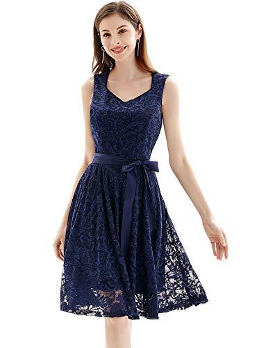 Gardenwed Damen Elegant Spitzenkleid Strech Herzform Abendkleid Cocktailkleider Partykleider Navy M