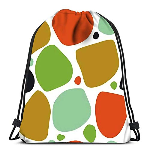 Bolsas con cordón Mochila Colorido Desordenado Resumen con Manchas Redondas desiguales Manchas Formas geométricas Bolsas de Viaje para Gimnasia