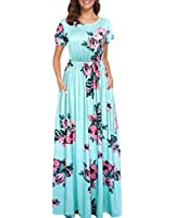 Afibi Women Floral Printed Crew Neck Short Sleeve Maxi Dress with Pockets (XX-Large, Green)