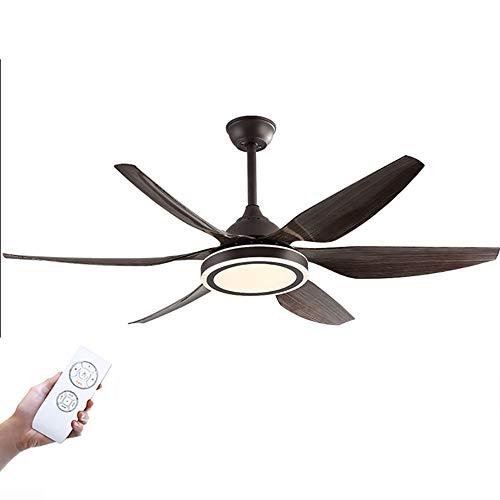 55 ″ Luz del ventilador de techo Ventilador, 6 PC Aspa del ventilador de grano de madera ABS, 140 cm de Diametro, 5 Velocidades,Regulable a distancia, Función de temporización, reversible(40W*2)