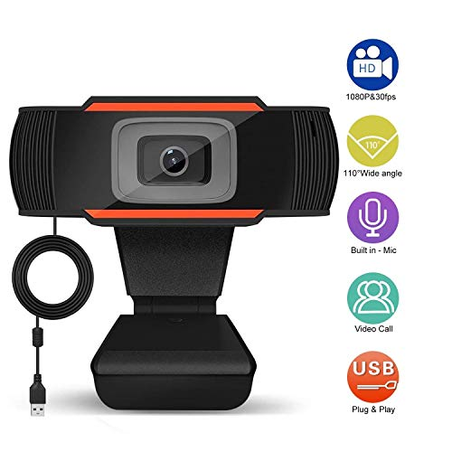 Webcam 1080P Full HD Computer Camera with Microphone,5 Million Pixels,Video Recording,Calling, Conferencing, Gaming,Live Streaming Widescreen Webcam-Suit for Microsoft Teams, Dingtalk