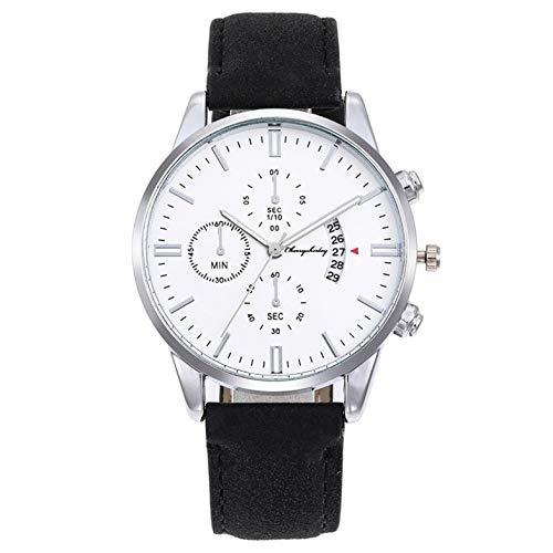 Cloverclover Herenmode Horloges, Lederen Band Ultradunne Luxe Zakelijke Klok, Chronograaf Sport Quartz Horloges Met Kalender