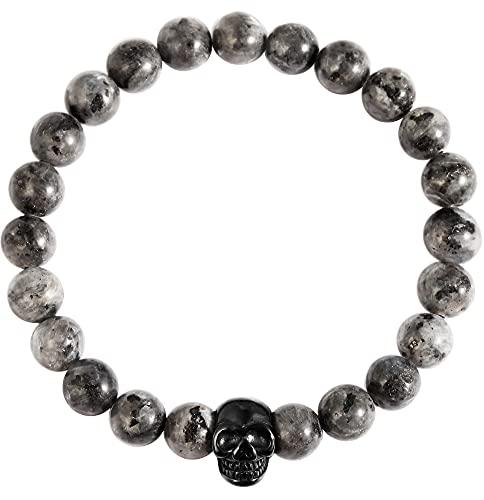Akzent Pulsera de bolas de piedra natural (obsidiana copo de nieve) con elemento de acero inoxidable, calavera