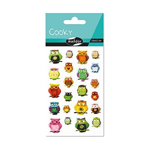 Maildor 560407C Packung mit Stickers Cooky 3D (1 Bogen, 7,5 x 12 cm, ideal zum Dekorieren, Sammeln oder Verschenken, Eulen) 1 Pack