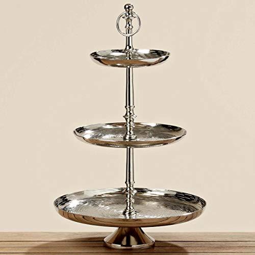 Etagere Silber mit Griff 3-stöckig Etageren Hochzeit Konfektschale Keksteller