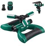 Homemaxs Lawn Sprinkler 3 Brazo con Aspersor de Impacto, Rotación Automática de 360 Grados, Ángulo y Distancia Ajustables, Sistema de Riego de Césped con Aspersor de Agua para Jardín