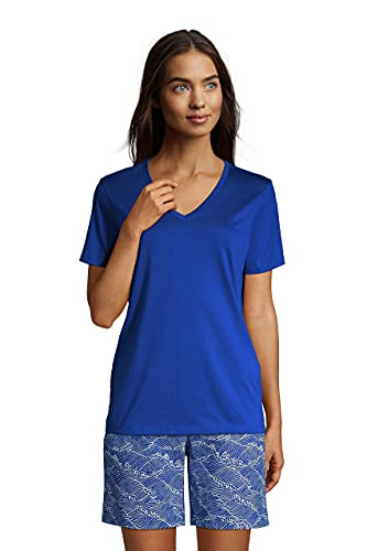 Lands' End Women s SS Relaxed Supima V Neck T Shirt Classic Cobalt Petite X-Small