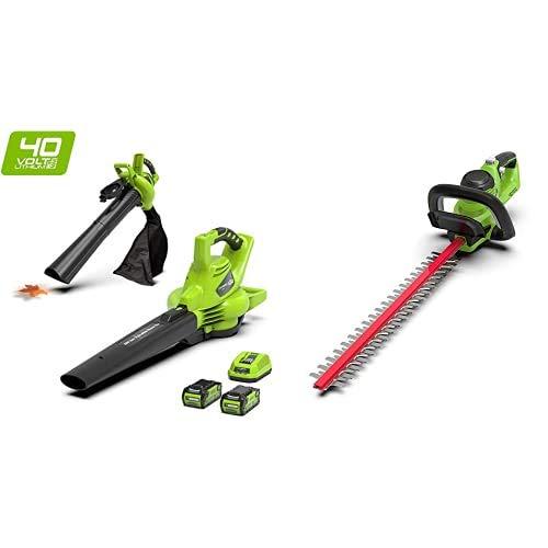 Greenworks Tools 24227UC 40 V Laubgebläse und Sauger inklusive 2 Akkus 2Ah und Ladegerät,Laubbläser+Akku-Heckenschere G40HT (verstellbarere Zusatzhandgriff ohne Akku und Ladegerät)