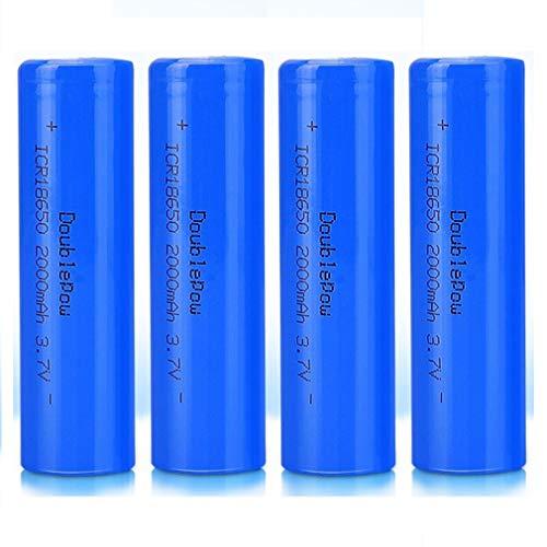 4 Pcs Batería 18650 Recargable Litio Lones Pilas 3.7V 2000mah Capacidad Baterías...