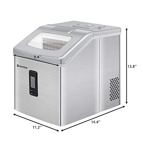 Sentern Portable CLEAR Ice Maker Machine Electric Stainless Steel Countertop Ice Making Machine, 48 lbs Per Day, Make Real Clear Ice Cubes Crystal Clear Ice