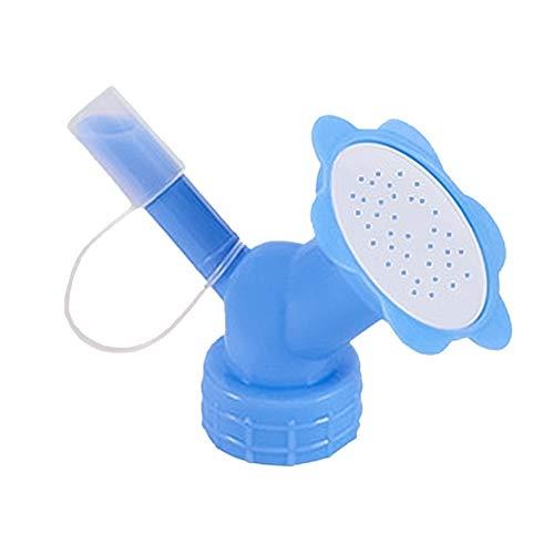 Aspersor con tapón para Botella,Boquilla de rociador de plástico,regadera para Bonsai de plástico de Doble Cabeza para regar Plantas de Interior Azul