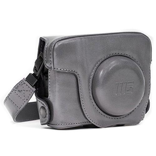 MegaGear Leder Kameratasche für Canon PowerShot G16 Kompakte Systemkamera (Grau)
