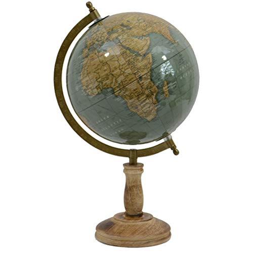 INtrenDU Antik Globus mit Holzfuß und Metallmeridian 38cm Schreibtisch Deko Weltkugel (Mossy)