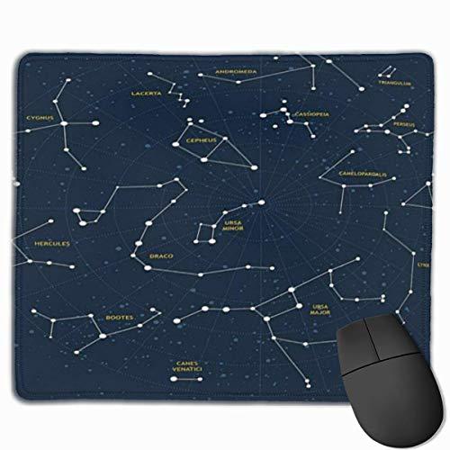Niedliches Gaming-Mauspad, Schreibtisch-Mauspad, kleine Mauspads für Laptops, Mausmattenkonstellation Himmelskarte Andromeda Lacerta Cygnus Lyra Herkules Draco Stiefel Lynx Standardgröße Gelb Blau