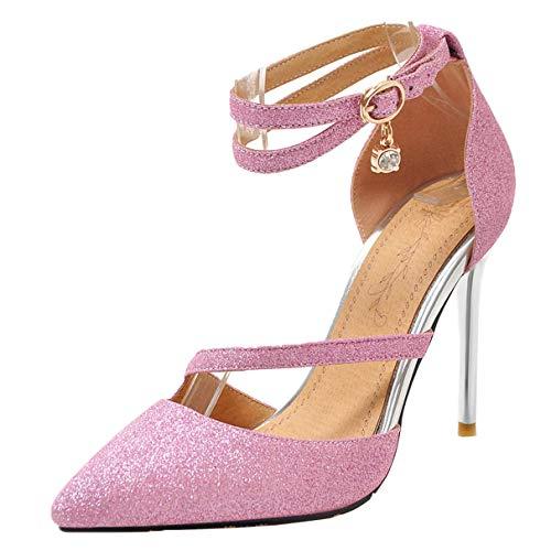 LUXMAX Donna Decolte Glitter Paillettes con Cinturino Decollete Tacco a Spillo Alto Fibbia per Scarpe a Punta Eleganti (Rosa) - 40 EU