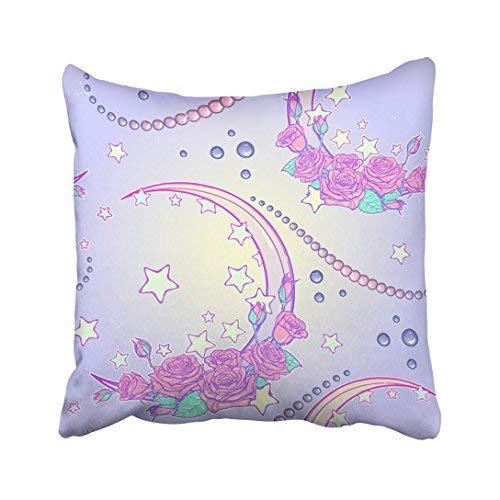 Funda de almohada para decoración del hogar, 18 x 18 cm, coloridos ramos de rosas kawaii y perlas, paleta de colores pastel góticos lindos fundas de cojín, 45 x 45 cm, cuadradas decorativas para sofá, accesorio para el hogar, regalos