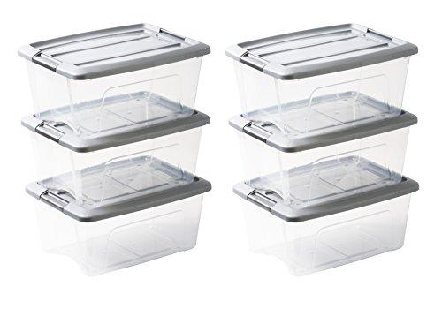 Amazon Basics 103431 Aufbewahrungsboxen 'New Top Box' 15 L, Plastik, Grau, 15 Liter