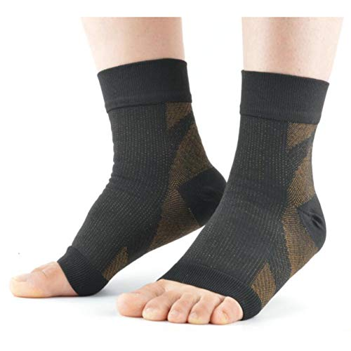 VERISA Copper Compression Socks for Men and Women - Recovery Foot Sleeves - Plantar Fasciitis Ankle Support Socks - Stabilizer for Relief of Heel Spurs, Arch Pain, Foot Swelling, Sore Muscles & Joints