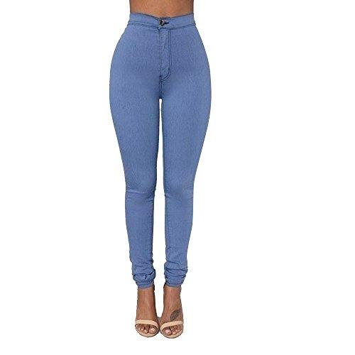 Rosennie Damen Jeans Hosen Mode High Waist Jeans Streetwear Denim Hose Casual Jeanshose Bleistift Leggings Hose Solid Frauen Freizeithosen