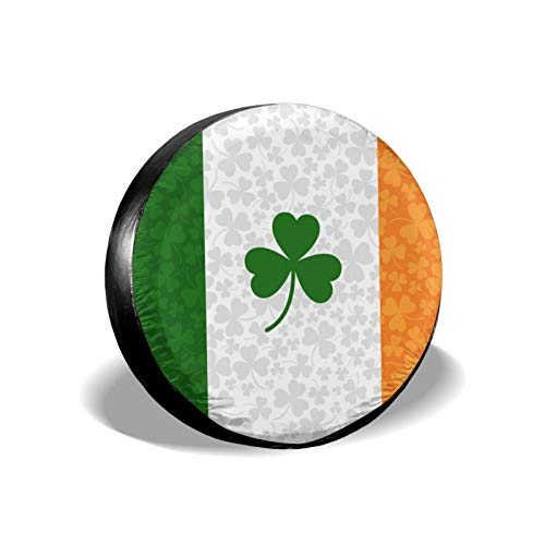 Inrubie Ireland Flag with Shamrock Spare Tire Cover 14 15 16 17 Inch for Rv Trailer SUV,Multiple Vehicles Universal Weatherproof Dust-Proof Wheel Tire Covers