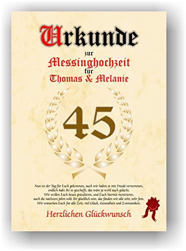 Urkunde zum 45. Hochzeitstag - Messinghochzeit - Geschenkurkunde Messing Hochzeit personalisiertes Geschenk Karte zum Ehrentag XXL DIN A4